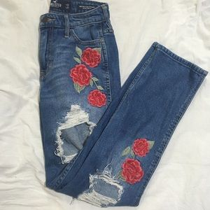 Mid/high rise slim straight jeans